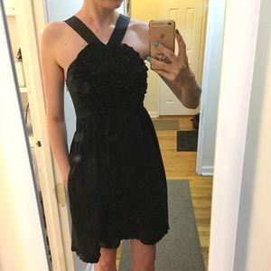 Black ruffly cocktail dress